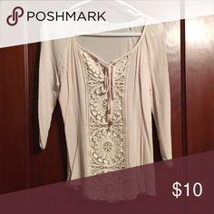 Selling this Cream 3/4 sleeve shirt on Poshmark! My username is: chrissynf. #shopmycloset #poshmark #fashion #shopping #style #forsale #Tops