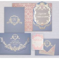 """Omg, these Blush and Blue #luxuryweddinginvitations with pops of gold by @cecinewyork are Gorgeous!!!! If you're looking for the """"Wow"""" factor these invitations will certainly do it! #cecinewyork #brides #bridetobe #weddinginvitation #chiqueweddingsandevents #californiaweddings #californiabride #michiganweddings #somethingblue #blushwedding"""