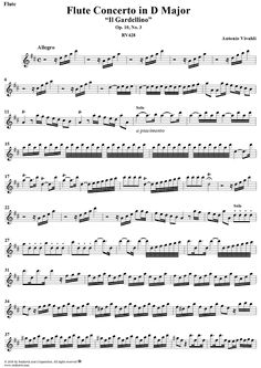 "Flute Concerto in D Major (""Il Gardellino""), op. 10, no. 3  (Flute Part) Sheet Music Preview Page 1"