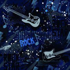 French Terry Sweatdruck Sommersweat Rockstar Rock Gitarre Bass Noten Stoff Blau schwarz Limited Edition weiss, blau, schwarz Männer Jungs Jugendliche French Terry Sweatdruck French Terry Druck