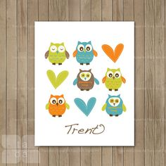 DIY Personalized Owl Nursery Art  Digital Printable Art -  8 x 10. $7.95, via Etsy.