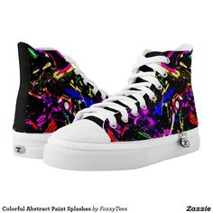Colorful Abstract Paint Splashes Printed Shoes with a Customizable Black Background Color Only at Zazzle  #Shoes #Sneakers