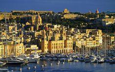 Download wallpapers Birgu, summer, Malta, old town, embankment, sea, yachts, sailboats, boats