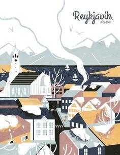 Reykjavík - Ann Macarayan Illustration, poster, travel, design, illustration, graphic, skyline, city, europe, landscape