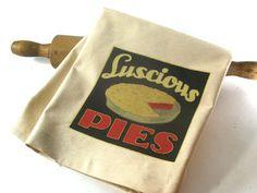 Cherry Pie Tea Towel Luscious Pies Vintage by RaiseGiantFrogs