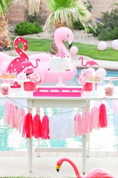 Flamingo dessert table at a pink flamingo Pool + Art Birthday Party by Kara…