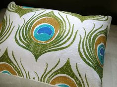 Olive Green and Turquoise Peacock Feather Linen Pillowcase