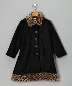 Take a look at this Black Leopard Trim Coat & Dress - Girls by Gerson & Gerson and Allison Ann on #zulily today!