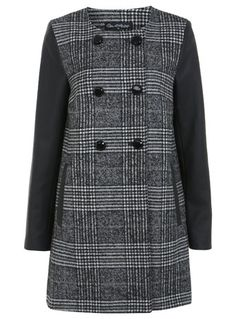 The Styling Up stylists recommend: Miss Selfridge: Black And White Check 2 Button PU Coat