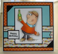 today I have two brilliant creations to show you from GDT Lorraine Bailey, using 'Alf'. Card Making Inspiration, Digi Stamps, Scrapbooking, Masculine Cards, Paper Cards, Cardmaking, Happy Birthday, Boutique, Boys
