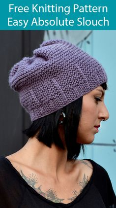 Free Knitting Pattern for Easy Absolute Slouch Hat Knit Flat - Slouchy beanie knit flat and seamed, featuring slipped stitches over garter stitch. Rated easy by Ravelrers and designer says it's perfec Slouch Hat Knit Pattern, Beanie Knitting Patterns Free, Easy Knit Hat, Beanie Pattern Free, Free Knitting, Knitted Hats, Slouch Hats, Knitting Machine, Hat Patterns