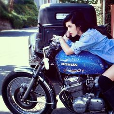 RocketGarage Cafe Racer: Girl On Bike