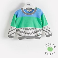 GRIBBLES Organic Cotton Blue Baby and Kids Sweater