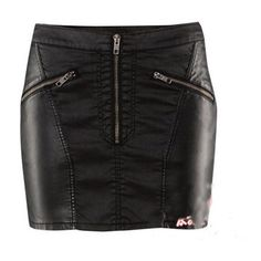 Black Stitching-leather Skirt Sexy And Simply ❤ liked on Polyvore