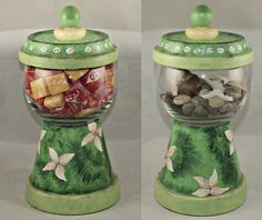Hand Painted Terracotta Candy Dish or Centerpiece, Gumball Machine Style, Home Decor