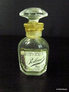 Antique Perfumer Palmer Solon Wisteria Glass Perfume Bottle w Label & Stopper