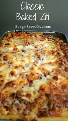 To veggie-fy:: Classic Baked Ziti Recipe - Sometimes a classic does not need to be messed with – and this baked ziti is one of them. Simple and classic this dish is paired well with a fresh salad..