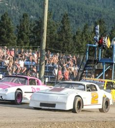 My daughter Tiffany Knight beside Al Tourond when he ran his first race at Merritt Speedway in BC.
