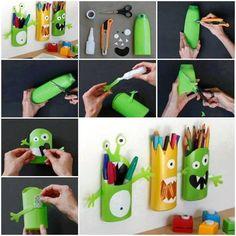 Reciclagem - embalagens plásticas = porta-trecos de parede