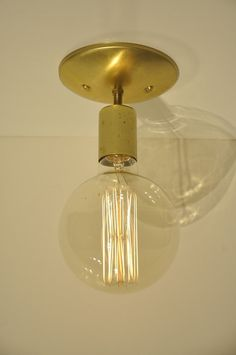 Unfinished Brass Ceiling Mounted Light Fixture by wiresNjars