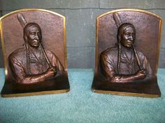 of Bronze Native American Indian Bookends Gregory s Allen 9693