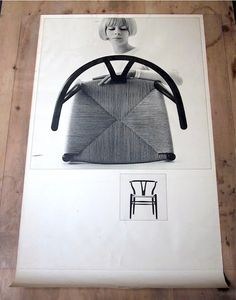 "Poster featuring ""The Wishbone Chair"" (CH24) also known as ""Y-stolen"" designed by the Danish architect and furniture designer Hans J. Wegner in 1950."