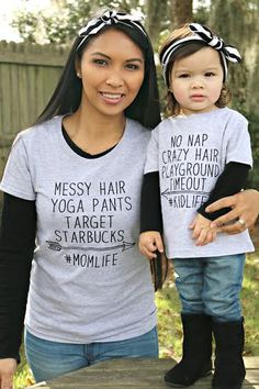 mommy and me SET mom life starbucks target mom shirt by Our5loves