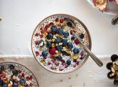 Overnight Coconut Buckwheat Porridge // Swap your overnight oats with buckwheat + chia seeds for more plant-powered protein.