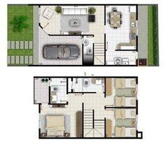 Projeto sobrado 3 quartos com 6 metros de frente