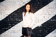 Rumi Neely Fashiontoast - Eleven Paris for Intermix City of the Future sweatshirt, Alexander Wang pleated leather skirt