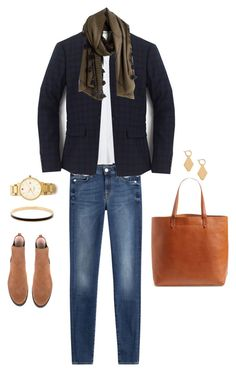 """""""Diamond Dash Scarf"""" by bluehydrangea ❤ liked on Polyvore featuring 7 For All Mankind, Banana Republic, Pretty Ballerinas, J.Crew, Madewell and Kate Spade"""