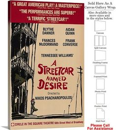 """A Streetcar Named Desire 1988 Broadway Musical Canvas Wrap 18"""" x 30"""""""