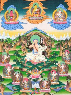 Milarepa Accompanied with Dancing Yoginis Singing the Songs of Buddha