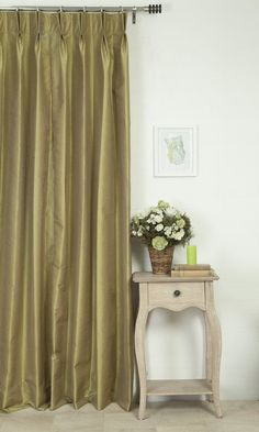 'WESTON WILLOW GREEN' MADE TO MEASURE DRAPES $46.00  https://www.spiffyspools.com/collections/silk-curtains/products/weston-willow-green-curtains?variant=1821084614680