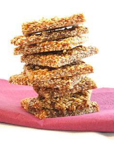 Sesame Seed Snaps -   Yields: 25 pieces | Prep: 10 minutes  1½ cups sesame seeds 1/3 cup sugar 1 cup honey