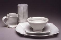 Margaret Bohls, white dinnerware.