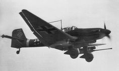 "German anti-attack aircraft Junkers Ju-87G-2 Stuka from the 10th Squadron anti 2nd Squadron direct support of troops, ""Immelman» (10. (Pz) / SG2) in flight."