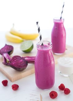 Berry & Beet Smoothies - A bright and vibrant breakfast or snack! Chock full of nutrients with a sweet, fruity taste. | foxeslovelemons.com