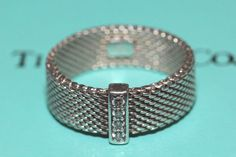 Dynamic Tiffany & Co Sterling Silver Somerset Mesh Four Diamond Ring - Size 7 by Tiffanytreasureshop on Etsy