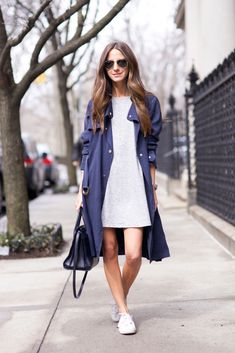 Trench: French Connection | Dress: NastyGal | Sneakers: Superga | Bag: Saint Laurent | Sunnies: Ray Ban http://FashionCognoscente.Blogspot.com