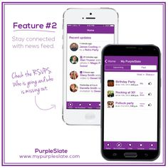 Stay connected with news feed - Stay updated with what's new - event invites, photos, audio clips, and videos shared by others. - #purpleslateapp #mypurpleslate #purpleslate www.mypurpleslate.com