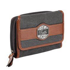 """Black & Tan Fashion Canvas Wallet w/""""Faith"""" Badge"""