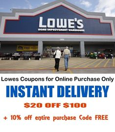 Lowes 1x/3x/5x 20 off 100 for Online Purchase Only FAST Code  BEST deal on EBAY! #Lowes