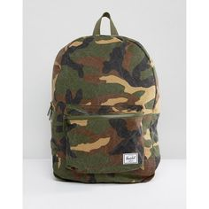 Herschel Supply Co Washed Cotton Camo Canvas Daypack Backpack ($56) ❤ liked on Polyvore featuring bags, backpacks, green, camouflage backpacks, canvas daypack, canvas shopping bags, canvas travel backpack and cotton backpacks