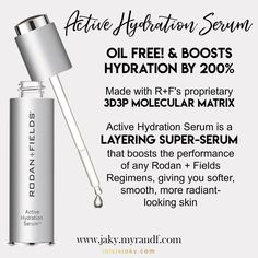 SUPER HYDRATION | Active Hydration Serum | Rodan and Fields | hydrate | wrinkle free | skincare http://christahaney.myrandf.com