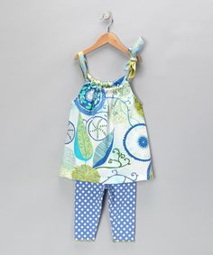 Take a look at this Blue Abstract Swing Top & Leggings - Toddler & Girls by Tutu & Lilli on #zulily today!