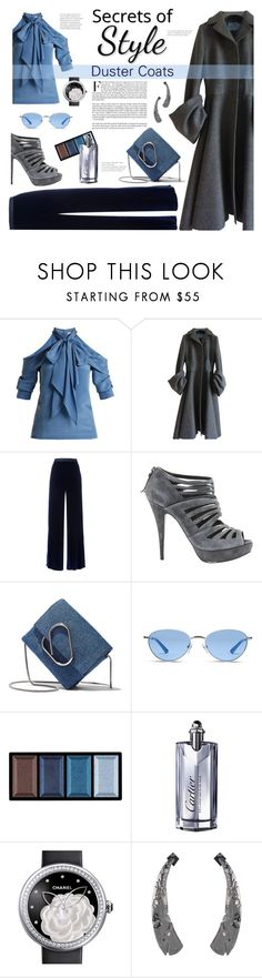 """Secrets of Style- Duster Coats"" by gilleyqwyn ❤ liked on Polyvore featuring Erdem, Prada, T By Alexander Wang, Miu Miu, 3.1 Phillip Lim, Vogue, Clé de Peau Beauté, Cartier, Chanel and Alexis Bittar"