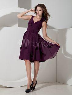 Popular Grape Chiffon V-neck Knee Length Bridesmaid Dress - www.milanoo.com