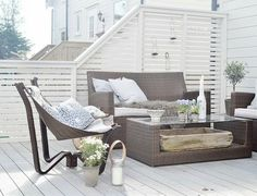 Colorbond white screen and decking boards painted white and nice relaxing area. Outdoor Spaces, Outdoor Living, Outdoor Decor, Small Patio Design, Fresco, Cottage Exterior, Garden Buildings, Diy Patio, Outdoor Projects