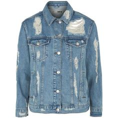 Topshop Moto Rip Extreme Denim Jacket (€58) ❤ liked on Polyvore featuring outerwear, jackets, coats, coats & jackets, denim jacket, 80s jackets, distressed jacket, topshop jackets, 80s jean jacket and distressed jean jacket